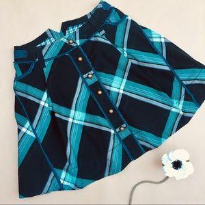 🍏Anthro •• Plaid A-line Skirt